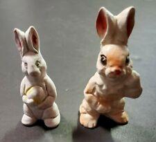 "2 Small Vintage / Retro Ceramic Bunny Rabbit Figurines - 3 3/4"" & 3 1/4"""