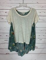 Umgee Boutique Women's S Small Blue Floral Short Sleeve Spring Summer Tunic Top