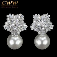 Big Drop White Pearl Earrings With Cubic Zirconia New Arrival Snow Flower Design
