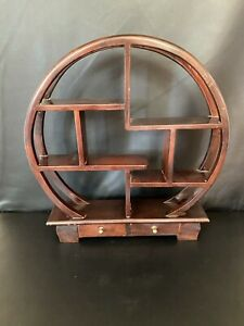 Chinese wooden circular display cabinet case with 2 drawers