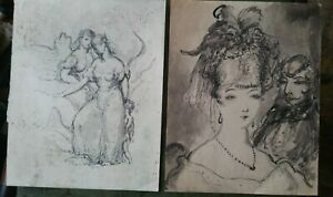 Pen and Ink Drawing Painting Harold Hope Read,Society couple+Figures (2)