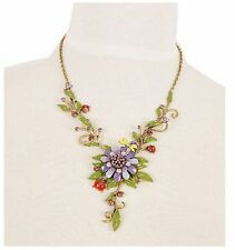Splendid Butterfly Flower Rhinestone Pendant Bib Statement Necklace Jewelry Set