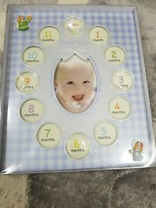 Blue My First Year Monthly Boys Picture Frame Rectangle approximately 12 X 10