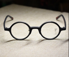Vintage round solid acetate eyeglasses retro japan mens black optical RX glasses