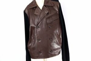 Man's POLO by Ralph Lauren Brown Leather Contrast Black Wool  Jacket Size L