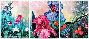 """""""BLUE SPRING SONG"""" Embossed Etching Triptych on Hand made Paper By M. Kravjansky"""