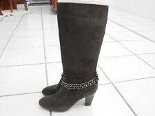 Connie Cecelia Brown Leather Suede High Heel Boots Women's 9.5M