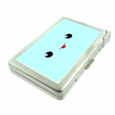 Cute Blue Tongue Face Em1 Cigarette Case with Built in Lighter Metal Wallet