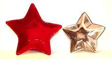 Lot Of 2 Potterybarn Star Dishes Red Silver Pottery Barn Barona Nut Tray Bowl