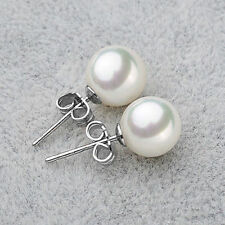 10mm White South Sea Shell Pearl Stud Earrings GH12