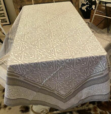 """BEAUVILLE FRENCH PRINTED COTTON VICTORIA GREY  SQUARE TABLECLOTH  67""""x67"""""""