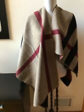 NEW BURBERRY LONDON MEGA CHECK  WOOL CASHMERE PONCHO CAPE WRAP SHAWL