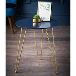 Stylish Hairpin Gold Leg Side Table Coffee Side Table  Dining Room NAVY Blue