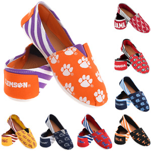 NCAA College Team Logo Stripe Womens Slip On Canvas Shoes - Choose Team