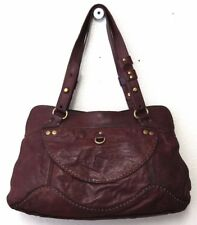 Vintage Lucky Brand Large Satchel Brown tumbled lamb leather *EUC*