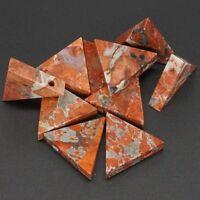 3Pc 6x26x26MM Beautiful Natural Gem Red Flower Jasper Crystal Triangle Pendant