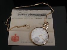 EXCEPTIONAL VINTAGE JULES JURGENSEN 14K POCKET WATCH & 14K LINK CHAIN W/ BOX