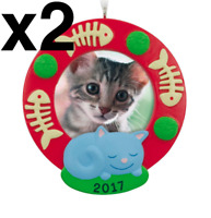 Hallmark 2017 (LOT OF 2) Cat Picture Frame Christmas Tree Ornament NEW IN BOX
