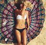 Indiano Pavone Mandala Rotondo Spiaggia Copriletto Cotone da Parete Opaco Arazzo