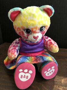 "Build A Bear Workshop Lisa Frank Inspired 17"" Rainbow Leopard Plush Stuffed..."