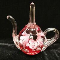 Vintage St. Clair Maude & Bob Red/Pink Glass Teapot Paperweight
