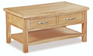 Light Oak Storage Coffee Table with Drawer / Regal Modern Solid Wood Furniture