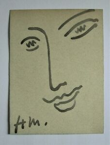 HENRI MATISSE. A Portrait in brush and ink on thick wove blue gray paper.