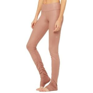 Alo Yoga Size M Idol Ruched Over-The-Heel Pink Dusty Rose Leggings Activewear