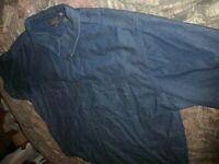 ZODUM Men's size XL Dark Wash Denim Trucker Jean Jacket Short Sleeve (B68)