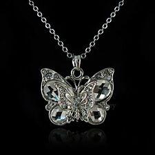18K WGP Vintage Butterfly Necklace Made with Swarovski Crystal NP1957