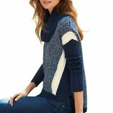 stunning 100% PURE CASHMERE chunky cable navy ivory JUMPER UK18 US14 £499 bnwt
