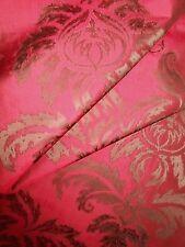 4.5Y new Italian SILK fabric woven medallions large pattern dark bronze dark red
