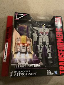 Transformers Titan Returns Astrotrain + Headmaster Darkmoon Voyager class New