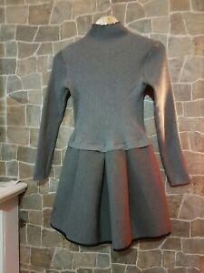 Womens Grey Winter Babydoll Thick Dress UK 10