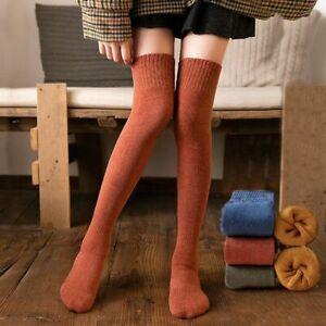 Korean New Women Winter Long Stockings Solid Colour Cotton Warm Wool JK
