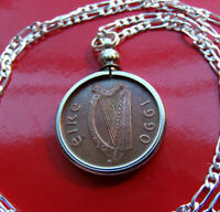 "IRELAND 1990  Harp &  Bird of Kells Bezel on a  30"" .925 Sterling Silver Chain"
