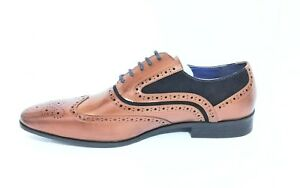 Italian Fashion Brown Mens Formal Smart Leather Shoes Business Brogues New UK
