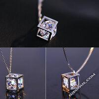 Halskette mit Anhänger Diamant Würfel Damen SilberKette Collier lang LA FERANI