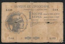FRENCH INDIA 1 RUPEE P4 1945 HELMET RARE INDIAN MONEY BILL ASIA BANK NOTE