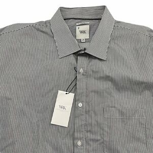 WRK Dress Shirt Mens 18 36-37 Black White Stripe Cotton Stretch Long Sleeve