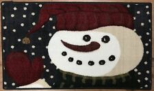20X34 Merry Christmas Waving Snowman Winter Navy White Snow Rug Washable Mat