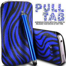 LEATHER POLKA & ZEBRA PULL TAB CASE COVER POUCH+ STYLUS FOR VARIOUS APPLE PHONES