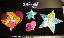 Sleeping Beauty & Cinderella Disneyland Resort Glitter 4 Pin Set on orig. card