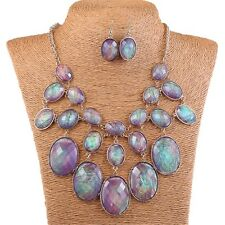 Abalone Purple Shell Oval Bead Bib Bubble Statement Necklace Earrings Set