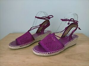Franco Sarto 'Liona' Size 7M /37 Purple/ Pink Leather Low Espadrilles Wedge Shoe