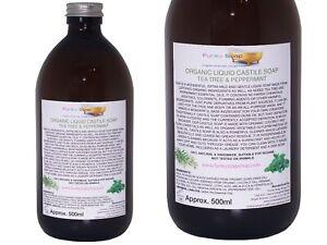Organic Castile Soap Tea Tree/Peppermint, Glass Bottle 500ml, 100% Natural