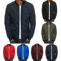 Mens Military Stand Collar Quilted MA1 Bomber Jacket Padded Coat Winter Fashion