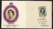 UK  Antigua  Old FDC Cover Elizabeth II Coronation 1953