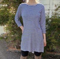 J. CREW size medium striped 3/4 sleeve shirt dress
