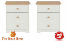 Bedside Cabinet PAIR of White And Oak 3 Drawer Table Colorado Bedroom Furniture
